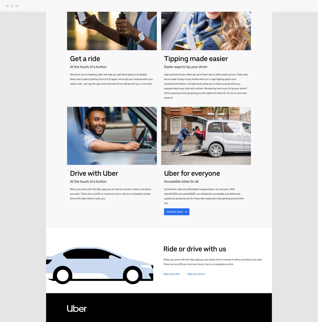 Uber UK Website Footer