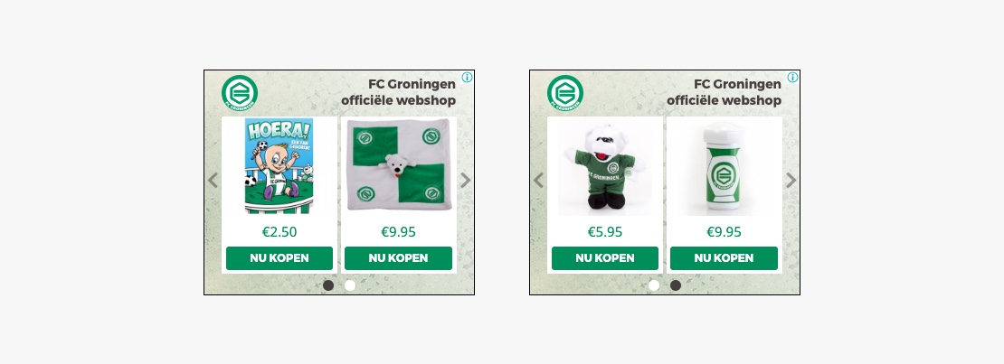 FC Groningen dynamic webshop creative