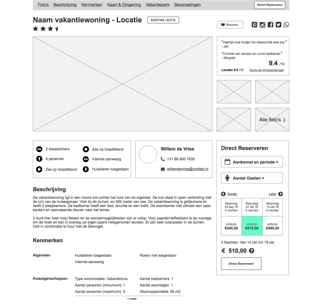 Lo-Fi wireframe of the final front page iteration